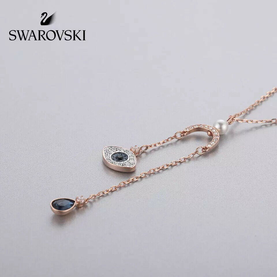 Swarovski DUO eye of the devil pendant crystal Necklace jewelry best gift image 3