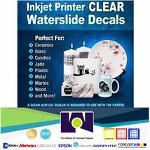 Waterslide Decal Paper Inkjet CLEAR 10Sh 8.5x11 Water Slide Decal Transfer Paper - $12.53