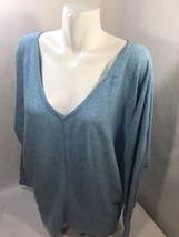 Lane Bryant Women Blue Blouse V-neck Long Sleeve Cotton Thin Fabric Size... - $14.95