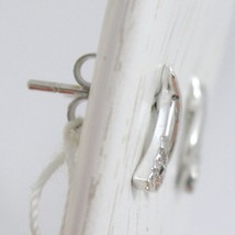 WHITE GOLD EARRINGS 750 18K LOBE, BRANCH AND FLOWER, WITH ZIRCON, LONG 1 CM image 2