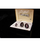 Vintage letter A Cufflinks / hematite color tuxedo set / original box & ... - $145.00