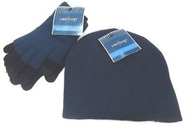 WEST LOOP - WOMEN - NAVY - BLACK - TEXTING - GLOVES - BEANIE - CAP - SET... - $11.69