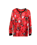 Disney Red Footed Pajamas Mickey Minnie Snow Flake Let It Snow Size Medi... - $24.74
