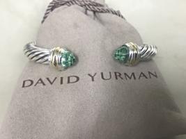 David Yurman Sterling Silver & 18k Gold PRASIOLITE 7mm Cable Classic Bra... - $449.99