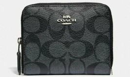 NWT COACH F30308 SMALL ZIP AROUND WALLET CLUTCH SIGNATURE PVC BROWN BLAC... - €54,06 EUR