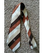 Vtg 70's Christian Dior Paris NY Brown Stripe Cravates Polyester Tie - $94.99