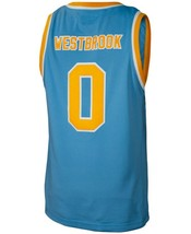 Russell Westbrook #0 College Custom Basketball Jersey Sewn Light Blue Any Size image 2
