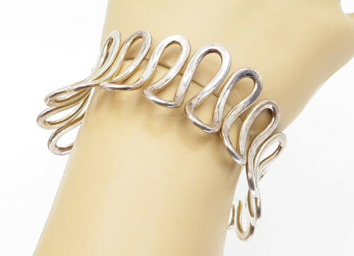 925 Sterling Silver - Vintage Open Swirl Designed Large Cuff Bracelet - B5885