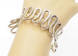 925 Sterling Silver - Vintage Open Swirl Designed Large Cuff Bracelet - ... - $141.42