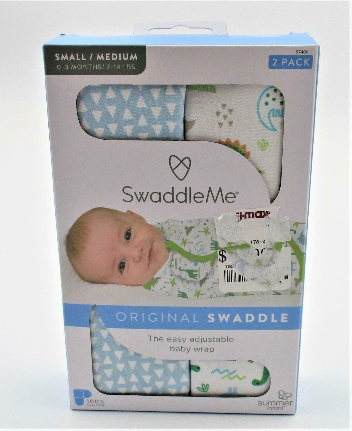 Primary image for SwaddleMe Original Swaddle Wraps 2 Pack Boy Colors Dinosaur S/M 0-3 Months