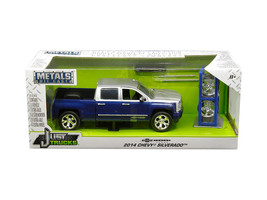 2014 CHEVROLET SILVERADO PICKUP W/ EXTRA WHEELS BLUE & SILVER 1/24 BY JA... - $39.95