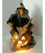 "Vtg HALLOWEEN WITCH Ceramic Byron Mold Pumpkin Cat Broom 10.5"" Glazed w/... - $47.02"
