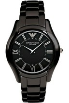 NWT Emporio Armani Women's AR1441 Ceramic Slim Black Dial Watch - $265.96 CAD