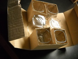 Clear Glass Shot Glasses Set of Six Square Style Double Size Heavy Base Boxed - $10.99