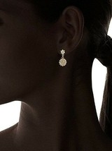Fragments Gold Plated Pavé Cubic Zirconia Crystal Floral Drop Post Earrings NWT image 2