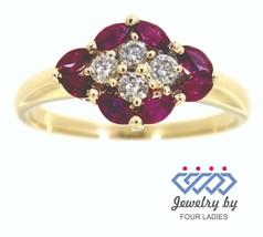 Rubino Pietra Zodiacale 14k Oro Giallo 0.40ct Delicato Vero Diamante Nat... - $1,494.81