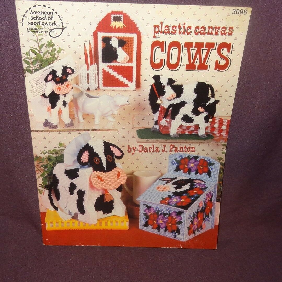 Primary image for Cows Plastic Canvas 1991 3096 Kitchen Decor Tissue Box Napkin Holder Bookends