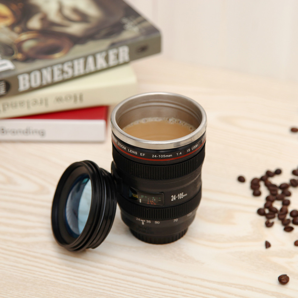 Camera Lens Shape Cup Coffee Tea Travel Mug Stainless Steel Vacuum Flasks