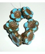 Hibiscus Flower Med Sky Blue Gold & Metallic Picasso Fin 22mm Czech Glas... - $13.29