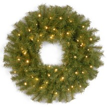 National Tree 24 Inch Norwood Fir Wreath with 50 Battery Operated Warm White LED