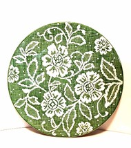Vintage Ideal Ironstone China Cake Plate Green White Flower Doily Patter... - $34.64