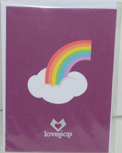 Lovepop LP1859 Rainbow Pop Up Card  Slide Out Note Envelope Cellophane Wrap
