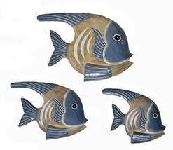 Beautiful Unique Set Of 3 Angel Wooden Fish Hanging Wall Art Hand Carved Statue - $29.64