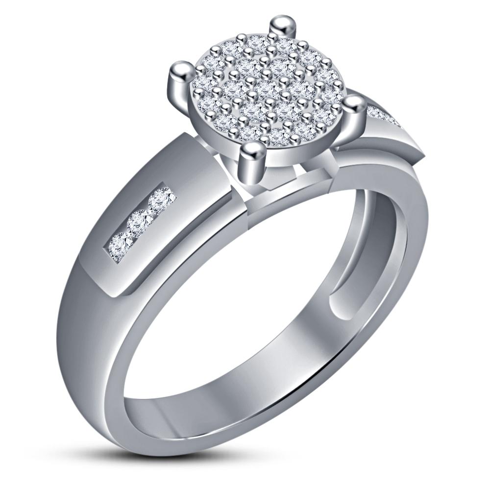 Bridal Engagement Ring Set 14k White Gold Over 925 Silver Round Cut Sim Diamond