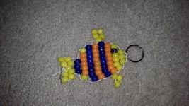 Beaded Tropical Fish keychain blue yellow orange gray grey - $11.99