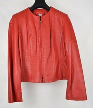 Anne Klein Womens Red Leather Jacket Embossed Faux Snakeskin Print 12 - $49.50