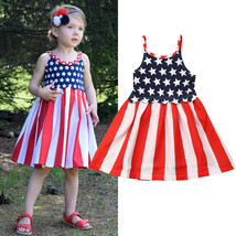NEW 4th of July Patriotic Stars & Stripes Girls Sleeveless Americana Dress - $10.99