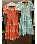 Vintage Pair of Chez Bea Coral and Baby Blue Square Dance or Costume Dre... - $49.49
