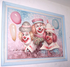 "Original W. Moninet ""Three Circus Clowns"" Acrylic Art Painting-Signed - $349.00"