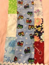 Baby Boys Blue Handmade Patchwork Quilt Blanket Trains Guitars 26x26 Veh... - $37.77