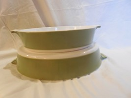 2 Corning Ware Avocado Green Casseroles Cake Pans - P-108 1/2-B & P-110-B - $18.80