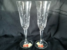 Gorham Crystal Champagne Flutes Snow Blossom Pattern Grey Cut Flowers - $33.20