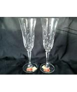 Gorham Crystal Champagne Flutes Snow Blossom Pattern Grey Cut Flowers - $33.20