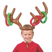 Inflatable Santa Funny Reindeer Antler Hat Ring Toss Christmas Holiday P... - $9.99