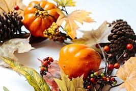 CraftMore Fall Oak Maple and Eucalyptus Garland with Pumpkins and Berries 6' image 5