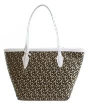 DKNY Shopper Tote Bag Heritage Brown White Canvas Logo Monogram Medium H... - $269.99