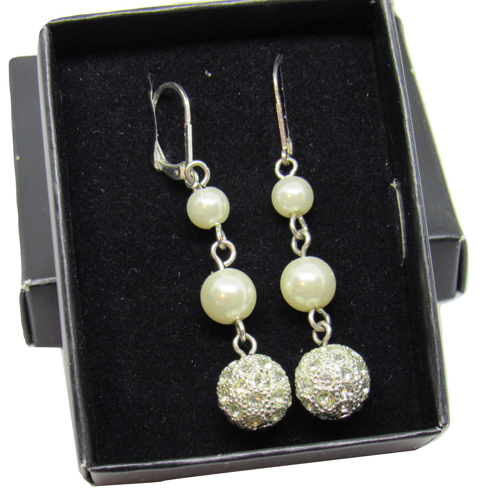 Avon 2011 President's Club Pearlesque Earrings Dangle Leverback image 1
