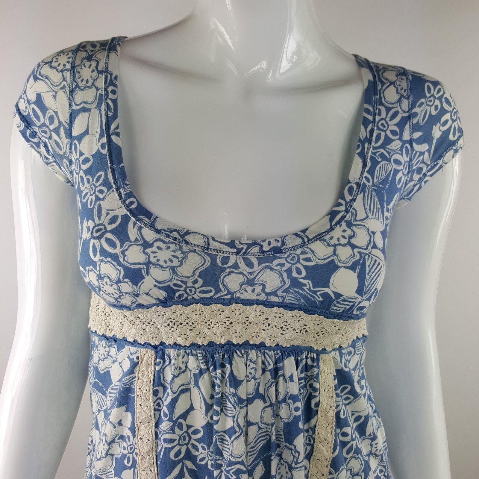 Hollister Womens Junior Small Blue White Floral Peasant Top Empire Waist NWT