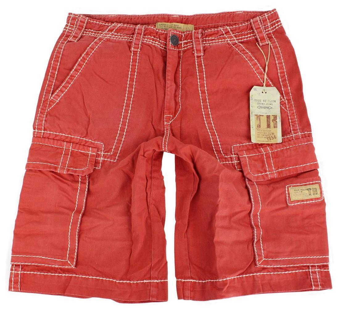 True Religion Men's Isaac Classic Cargo Sport Shorts 6 Pocket Coral