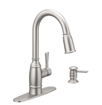 Noell 1-Handle Pull-Down Sprayer Kitchen Faucet, Soap Disp Power Clean Stainless - $169.00