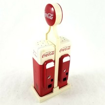 Vintage Coca Cola Salt and Pepper Shakers Set Gas Pump Style Design Plastic - $24.74