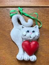 Kurt S. Adler Light Gray Kitty Cat with Large Red Heart Resin Christmas Tree Orn - $8.59