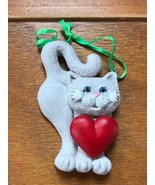 Kurt S. Adler Light Gray Kitty Cat with Large Red Heart Resin Christmas ... - $8.59