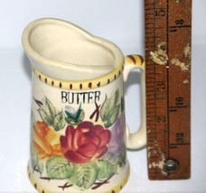 Porcelain Butter Pitcher/Vintage with Floral Design and Butter Lettering PRETTY - $10.59