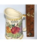 Porcelain Butter Pitcher/Vintage with Floral Design and Butter Lettering... - $10.59