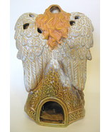 Decorative Ceramic Angel Tealight Holder Gold Painted Trim 10 3/8 Inches - $31.49